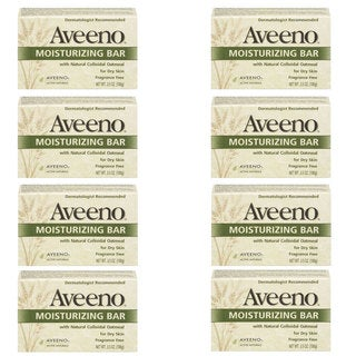 Aveeno Moisturizing Bar with Natural Colloidal Oatmeal for Dry Skin (Pack of 8)