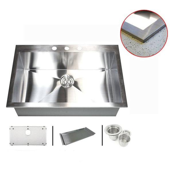 Stainless Steel 33-inch Single Bowl Topmount Drop-in Zero Radius Kitchen Sink with Combo Accessories 11996564