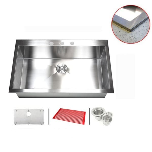 Stainless Steel 36-inch Single-bowl Topmount Drop-in Zero Radius Kitchen Sink with Accessories 11997031