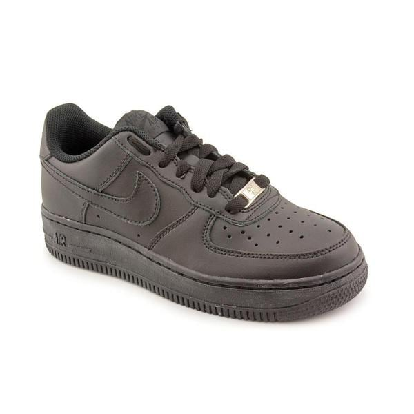 Nike Boy (Youth) 'Air Force 1 (GS)' Black Leather Athletic Shoe