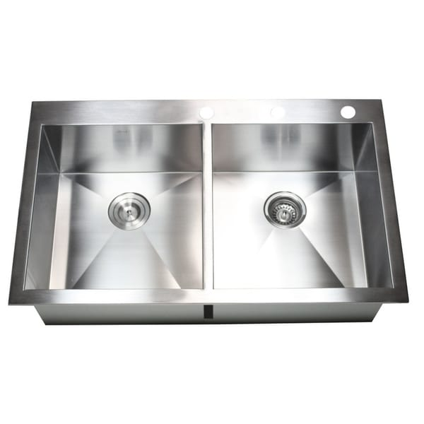 Stainless Steel 36-inch Double-bowl Topmount Drop-in Zero Radius Kitchen Sink with Accessories 11998447