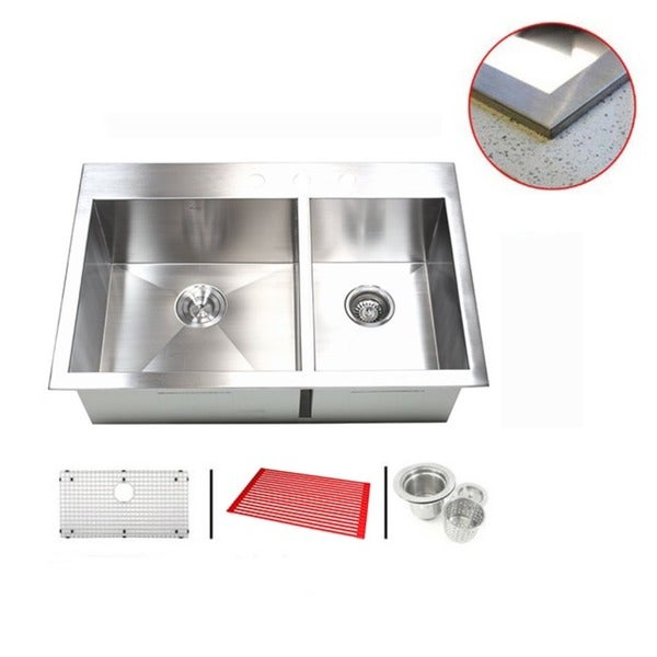 Stainless Steel 33-inch Double-bowl Topmount Drop-in Zero Radius Kitchen Sink with Accessories 11998829