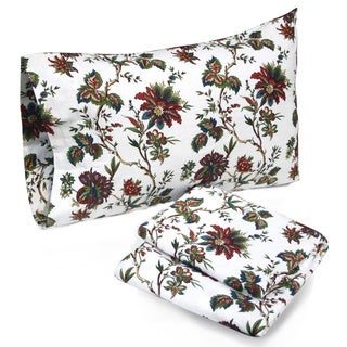Tribeca Living Rainforest Floral Printed Deep Pocket Flannel Sheet Set