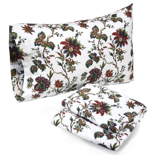 Tribeca Living Rainforest Floral Printed Deep Pocket Flannel Sheet Set