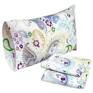 Tribeca Living Paisley Garden Printed Deep Pocket Flannel Bed Sheet Set