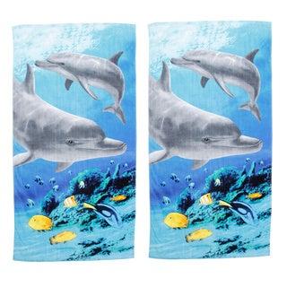 Tropical Dolphin Beach Towel Set of 2