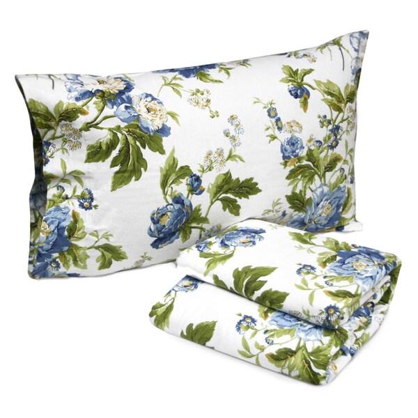 Tribeca Living Floral Bouquet Printed Deep Pocket Flannel Sheet Set