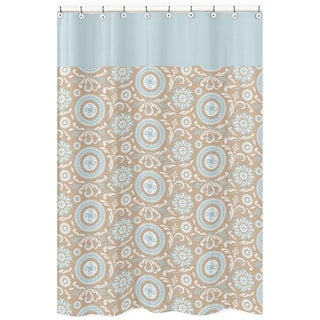 Blue and Taupe Hayden Cotton Shower Curtain