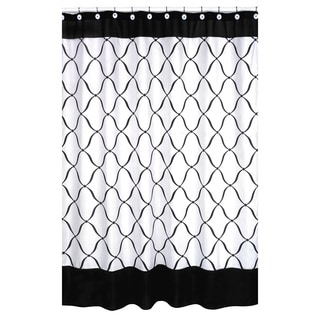 Black and White Geo Fabric Shower Curtain