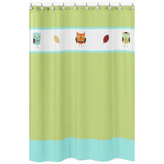 Turquoise and Lime Hooty Owl Kids Cotton Shower Curtain