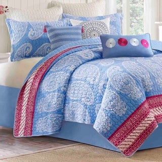 Echo Brand Woodblock Paisley Coverlet with Optional Sham Separates