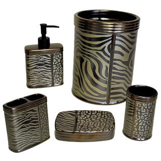 Sherry Kline Zebra Brown Print 5-piece Bath Accessory Set