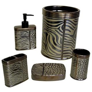 Sherry Kline Zebra Brown Print Bath Accessory 5-piece Set
