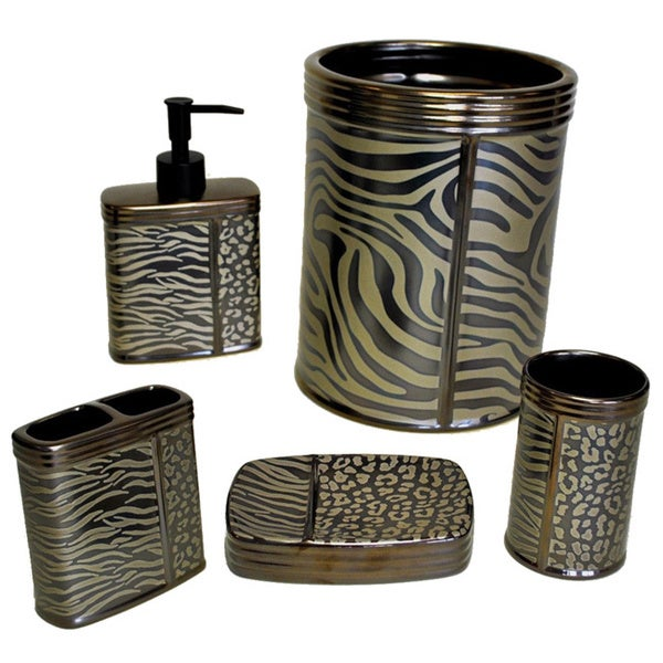 Sherry Kline Zebra Brown Print Bath Accessory 5 Piece Set 15805409