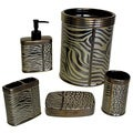 Sherry Kline Zebra Brown Print Bath Accessory 5-piece Set