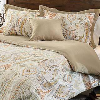 Comosetti Beige Linen Paisley Reversible Cotton 5-piece Comforter Set