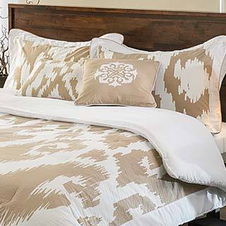 Ubezek Tan and White Cotton Reversible 5-piece Comforter Set