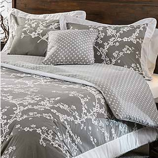 Hanami Grey and White Cotton Reversible 5-piece Comforter Set