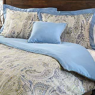 Comosetti Woodlawn Blue Paisley Reversible Cotton 5-piece Comforter Set
