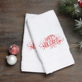 Embroidered Happy Holidays Red Turkish Cotton Hand Towels (Set of 2)
