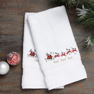 Embroidered Santa on the Go Holiday Turkish Cotton Hand Towels (Set of 2)
