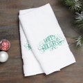 Embroidered Happy Holidays Green Turkish Cotton Hand Towels (Set of 2)