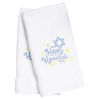 Embroidered Happy Hanukkah Holiday Turkish Cotton Hand Towels (Set of 2)