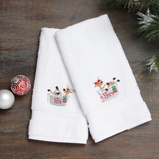 Embroidered His and Hers Bathing Reindeer Holiday Turkish Cotton Hand Towels (Set of 2)