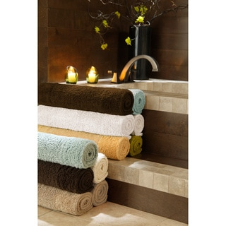Reversible Solid Egyptian Cotton and Bamboo Bath Rug Collection