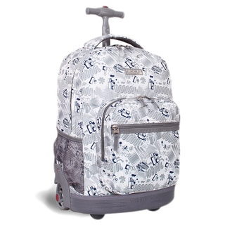 J World New York Blinker White Sunrise Rolling Backpack