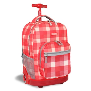 J World New York Check Red Sunrise Rolling Backpack