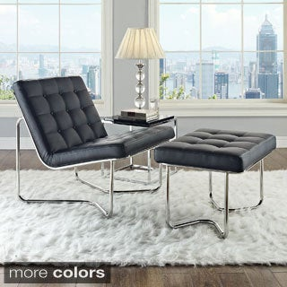'Gibraltar' Black Padded Vinyl Lounge Chair and Ottoman