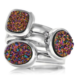 Genuine Drusy Quartz Cubic Zirconia Stackable Rings (Set of 3)