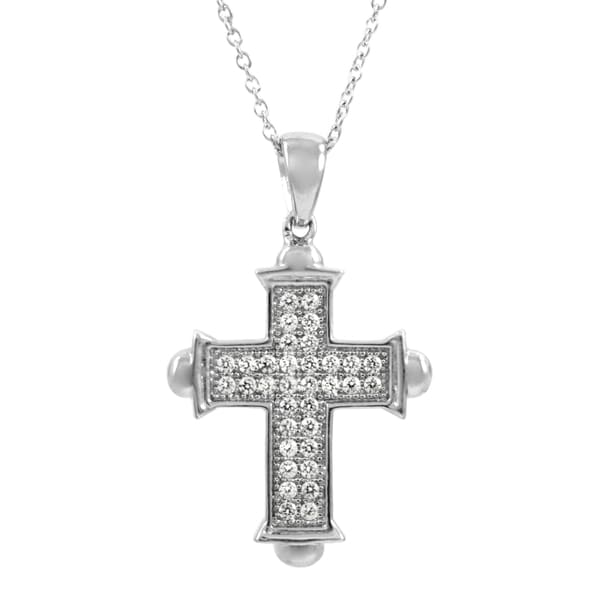 Marcella's Sterling Silver Cubic Zirconia Cross Necklace