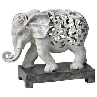 Carved Elephant with Ivory Finish