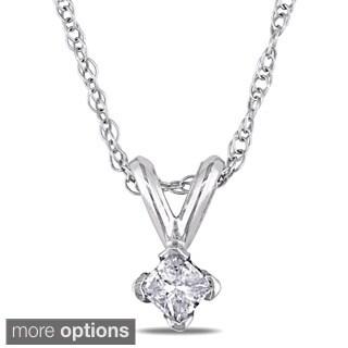 M by Miadora 14k Gold 1/10ct TDW Diamond Solitaire Necklace (J-K, I2-I3)