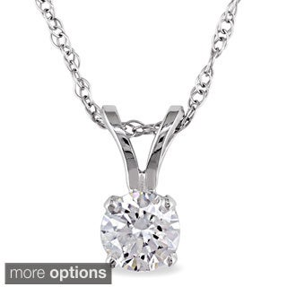 Miadora 14k Gold 1/3ct TDW Diamond Solitaire Necklace (J-K, I2-I3)