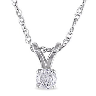 M by Miadora 14k Gold 1/10ct TDW Diamond Solitaire Necklace (J-K, I2-I3)