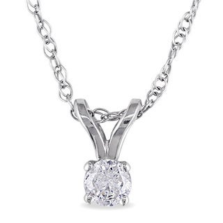 Miadora 14k Gold 1/10ct TDW Diamond Solitaire Necklace (J-K, I2-I3)