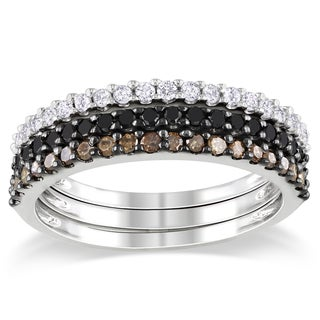 Miadora Sterling Silver 5/8ct TDW Black, Brown and White Diamond Ring Set