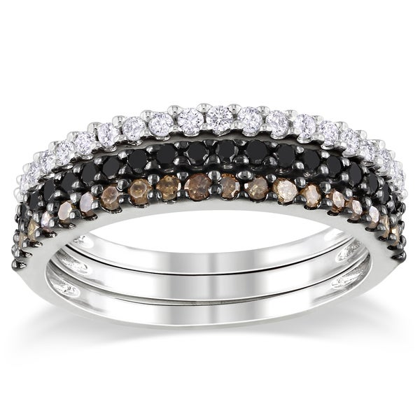 Haylee Jewels Sterling Silver 5/8ct TDW Black, Brown and White Diamond Ring Set