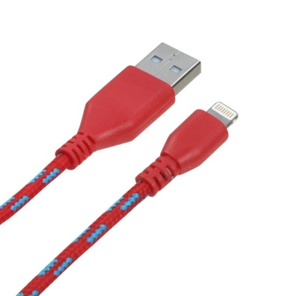 BasAcc 6-foot Red Woven 8-pin Data Cable for Apple iPhone 5/ 5C/ 5S