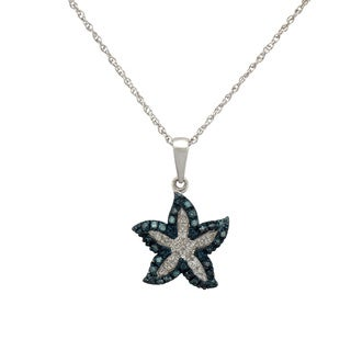 Silver 1/6ct TDW Blue and White Diamond Starfish Necklace (I-J, I2-I3)