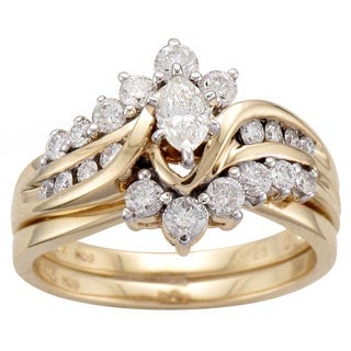 Unending Love 14k Yellow Gold 1ct TDW Marquise Diamond Bridal Set
