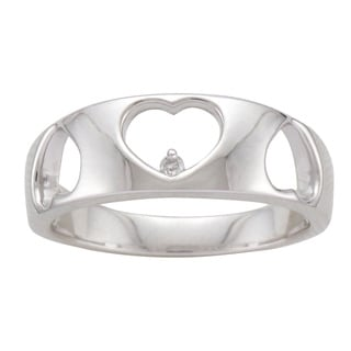 Unending Love Sterling Silver Diamond Accent Heart Band
