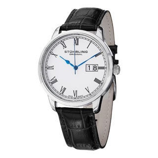 Stuhrling Original Men's Cuvette Panache Swiss Quartz Leather Strap Watch