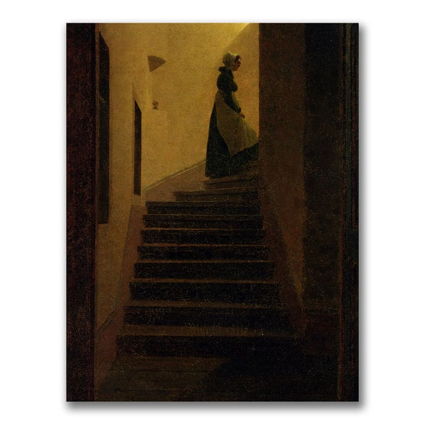 Caspar Friedrich 'Caroline on the Stairs' Canvas art