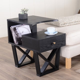 Furniture of America Sky Black Contemporary Side Accent Table
