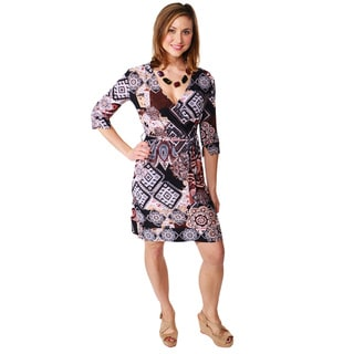 24/7 Comfort Apparel Women's Tie Waist Faux Wrap Dress