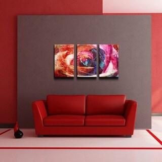 Alexis Bueno 'Abstract Rose' 3-piece Canvas Wall Art